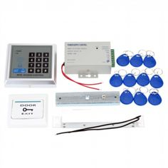 Access Control Management System Kit Password Host Controller + 180Kg Electric Magnetic Lock + Door Switch + Power Supply + 10pcs ID Key Fobs