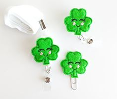 Shamrock Kawaii Feltie Paperclip | Badge Reel | Feltie Badge | Badge Holder | Planner Clip | Planner Accessories | St Patricks Day Felties