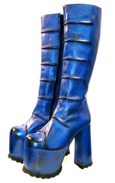 Vintage Blue Leather Cyber Goth Platform Boots by Atomicfireball