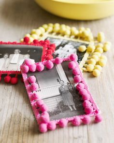 Sweet Paul's Festive Pom-Pom Photos: paint wooden frame and decorate with pom-poms only