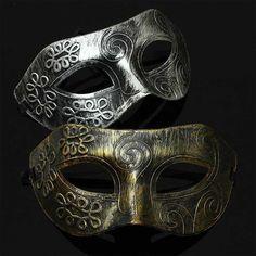 Homens prata Costume Masquerade Cosplay máscara veneziana baile de máscara romana(China (Mainland))