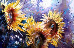Gerard Hendriks Sunflower Art, Watercolor Sunflower, Watercolor Flowers, Watercolor Paintings, Vincent Van Gogh, Flower Artists, Paintings I Love, Art Themes, Flower Photos