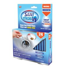 As Seen On TV Drain Cleaner Disposable Sani Sticks Drain Clog Remover!, 24pk
