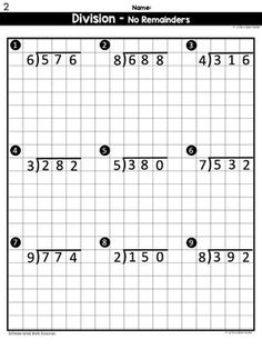 Long Division Worksheets Differentiated FREE by Caffeine Queen Teacher Math Division Worksheets, 4th Grade Math Worksheets, 3rd Grade Math, Math Resources, Alphabet Worksheets, Italian Language, Korean Language, Japanese Language, Spanish Language