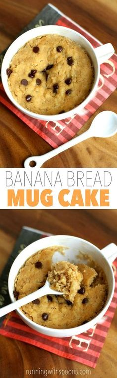 Banana Bread Mug Cake -- 5 minutes and 5 ingredients is all you need to make this healthy and delicious vegan mug cake!    runningwithspoons.com #glutenfree #vegan