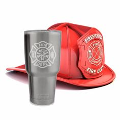 Fire fighter Maltese Cross on a tumbler or Colster