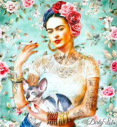 Art Print - Illustration - Portrait - Painting- Portrait - Home Decor - Pop Art - Sphynx - Cat Art - Homage I was born a b*tch. I was born a painter.-Frida Kahlo Of course Frida was best known for her love of painting, most specifically herself as the Frida E Diego, Frida Art, Frida Kahlo Artwork, Chat Sphynx, Sphynx Cat, Art And Illustration, Illustrations, Portrait Illustration, Pop Art