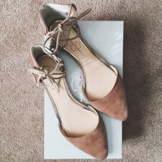 """HPx2 Jessica Simpson Taupe Flats  HP 4/1/2016 """"Top Trends"""" Party & HP 4/6/2016 """"Work Week Chic"""" Party    Adorable suede flats that lace up by Jessica Simpson. There are some stains and some water damage, but still nice and can get a LOT more wear out of them. I can send the box as well if you'd like. Great color for spring   Pet friendly home Feel free to ask any questions! Bundle 2+ items for additional 10% off Jessica Simpson Shoes Flats & Loafers"""