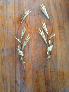 Pair Vintage Brass Copper Metal Wheat Wall Sculpture mid century hanging