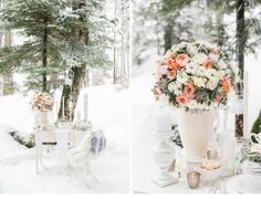 winter wedding inspiration by www.tabeamarialisa.ch | photo: www.andreakuehnis.com  table decoration / peach white green flowers / white wooden candle holder / vintage / white wedding place card