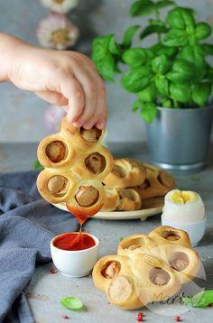 Drożdżowe bułeczki z parówkami Waffles, Breakfast, Morning Coffee, Waffle