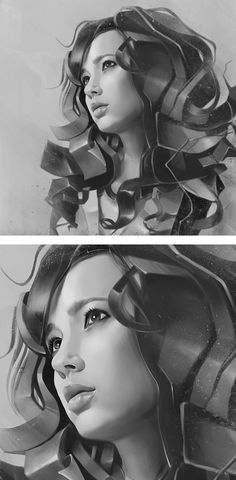 Artist: Denis Gonchar {figurative art beautiful female head woman face digital b+w portrait detail}