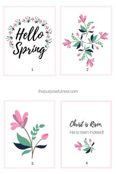 Here are four darling free printables to usher in spring. Use these free printables to add a spring feel to your home's decor. 40 Days Of Prayer, Printable Art, Free Printables, He Is Risen Indeed, Hello Spring, Planner Pages, Spring Crafts, Project Life, Business Ideas