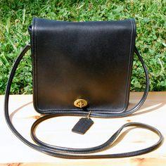 Vtg. 1970s COACH Companion Bag in Black // Black Coach Crossbody Bag // Excellent Near Mint Vintage Condition // Black Coach Leatherware Bag...
