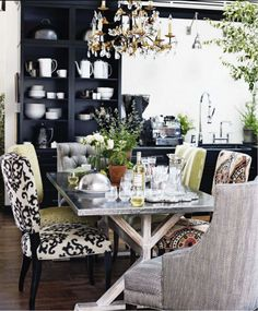 I love how the four chairs are the same style, but with different, but complementary fabrics.