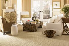 Light, bright and boasting our Natural Glory SmartStrand carpet in Sterling Clouds. One word: Lovely.