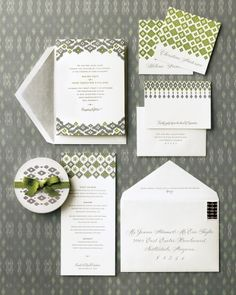 love this wedding invitation suite, diamond patterning, warm grey and green