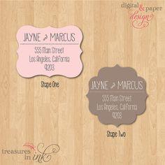 Modern Flourish Return Address Labels - Cool Design and Die Cut Shape - Choose your favorite Color - 25 Self-Adhesive Labels