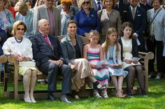 (L-R) Queen Sonja of Norway, King Harald of Norway, Princess Martha Louise of Norway, Emma Tallulah Behn of Norway, Leah Isadora Behn of Norway, and Maud Angelica Behn of Norway attend the unveiling of Norwegian Trekking Association gift for The Queen of Norway 80th birthday on July 04 2017 in Oslo, Norway
