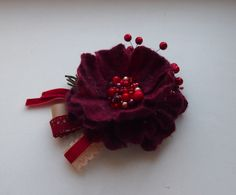 Felted brooch- flower vinous -Flower brooch from YuliasFeltworld by DaWanda.com