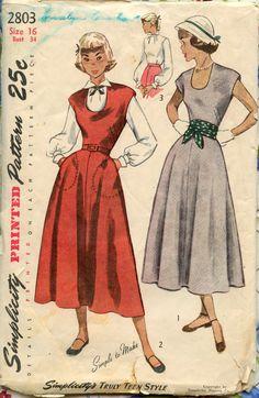 1940s Simplicity 2803 Vintage Dress Pattern Misses Teen Dress Jumper Blouse U Neckline Bust 34. $14.00, via Etsy.