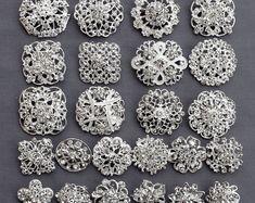 24 plata broche de cristal de Strass broche LIBRE envío de 20.00 orden boda broche ramo pastel decoración DIY Kit BR679