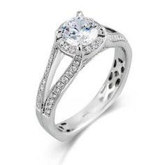 Shop online SIMON G MR2096 Halo 18K - White Gold Diamond Engagement Ring at Arthur's Jewelers. Free Shipping