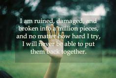 Closure broken words and stories full of tears.