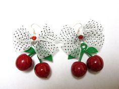Rockabilly Jewelry Fresh Fruit Cherry Earrings by sweetie2sweetie, $10.99