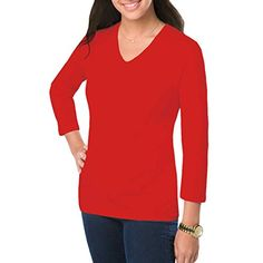 Amy Alder Womens ClassicFit Basic 34 Sleeve VNeck Shirt Red M * Find out more about the great product at the image link.Note:It is affiliate link to Amazon.