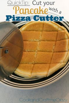 HOW DID I NEVER THINK OF THIS BEFORE!?!? Cook and Craft Me Crazy: Quick Tip: Cut your Pancakes with a Pizza Cutter!