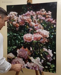 The Roses are finished . Oil On Canvas, Floral Wreath, Roses, Christmas Tree, Wreaths, Fine Art, Holiday Decor, Artist, Painting