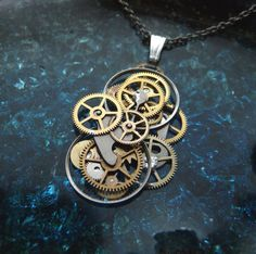 """Clockwork Pendant """"Rotor"""" Recycled Mechanical Watch Gears Intricate Parts Sculpture Machine Steampunk Necklace OOAK Metal Necklace"""