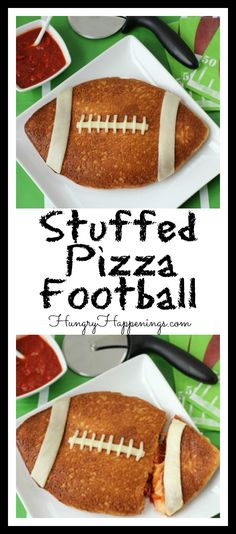 This week here at Hungry Happenings it is all about Super Bowl Party Food and today I'll share with you a super simple Stuffed Pizza Football. Don't order in pizza for the game but make your own and I guarantee you'll be satisfied.