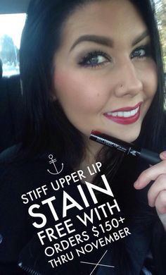 Have you gotten your FREE Stiff Upper Lip lipstain?? We're running LOW! Mine is in the mail and I can't wait! One of the ladies on my team said it's her new FAV PRODUCT! Get it FREE before it's gone!