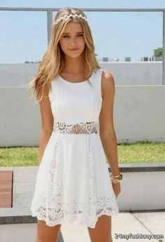 So nice White dress The Fashion: Gorgeous dress black fur Summer outfits Teen fashion Cute Dress! Clothes Casual Outift for teenes movies girls women . summer fall spring winter outfit ideas dates school parties mint cute sexy ethnic skirt Cool Summer Outfits, Summer Chic, Cute Outfits, Summer Fall, Summer Clothes, Summer 2014, Outfit Summer, Prom Outfits, Casual Summer