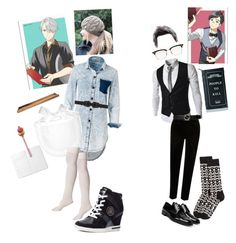 """""""Y!OI restaurant workers"""" by crythin ❤ liked on Polyvore featuring B-Low the Belt, Tommy Hilfiger, Fountain, River Island, Gucci, Thom Browne, Happy Socks, Prada and Killstar"""
