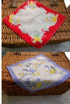 2 Vintage Handkerchiefs Hankies Hanky  Fishing by EntirelyApropos