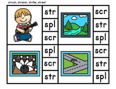 32 clip cards for initial blends scr, str, spr, and spl.Find more activities and printables for these blends by clicking the link:Related Products ⭐ Phonics Three Letter Blends Printables and Activities. Phonics Chart, Phonics Flashcards, Blends And Digraphs, Phonics Blends, Letter Blends, Blends Worksheets, Three Letter Words, First Grade Phonics, Reading Tutoring