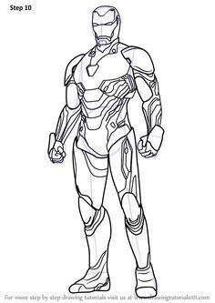 Step By Step How To Draw Iron Man From Avengers Infinity War Drawingtutorials101 Com Iron Man Para Colorear Spiderman Dibujo Para Colorear Ironman Dibujo