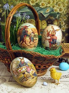 victorian-style paper maché Easter egg candy containers - from d. blumhen