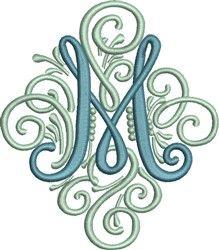 Adorn Monogram M embroidery design