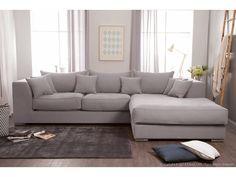 Canapé d'angle en coton et lin déhoussable EDWARD