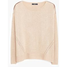 MANGO Contrast Trim Sweater (145 RON) ❤ liked on Polyvore featuring tops, sweaters, side slit sweater, pink cable knit sweater, pink cable sweater, long sleeve tops and collared sweater