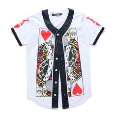 2017 popular red heart king3D print fashion rock print button shirt hip-hop style V-neck short sleeve 3D men's T-shirt