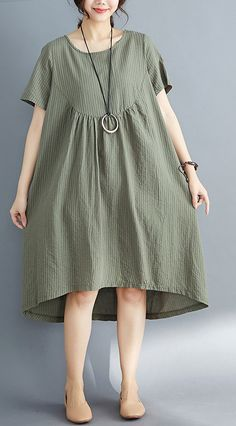 DIY o neck asymmetric Cotton clothes Women plus size Catwalk army green striped Midi Dress Summer - Cotton Diy Diy Summer Clothes, Striped Midi Dress, Dress With Sneakers, Casual Tops For Women, Wedding Dress, Linen Dresses, Little Girl Dresses, Plus Size Dresses, Midi Dress Plus Size