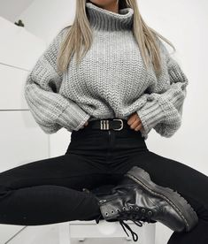 5d7d55d7c0588 winter outfit, christmas gift ideas, turtleneck sweater, gray turtleneck, black  high waisted