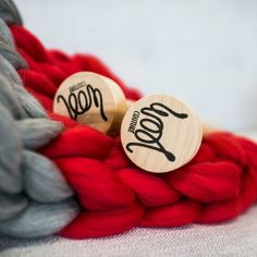 Giant Knitting, Red And Grey, Yarn Needle, Wool Blanket, Diy Kits, Knit Crochet, Weaving, Corner, Things To Come