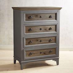 Weston Weathered Oak 4-Drawer Chest Gray