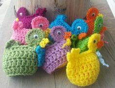 Crochet easter egg DUCK cozy, fun, seasonal,  & cute. covers plastic Easter egg.. $3.25, via Etsy.